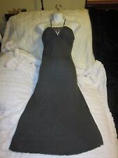 Mandee Size Small Gray dramatic Halter Tube Dress With Rhinestone Metallic Bust