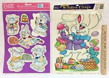 Easter Rabbit Window Clings Vintage Used Original Backing 6 Clings 2 Pkg 1993-99