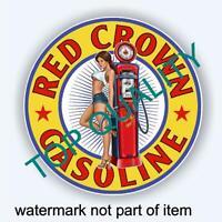 VINTAGE RED CROWN GASOLINE OIL Decal Sticker Vintage Man Cave Hot Rod Stickers