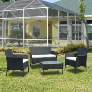 Gartenmöbel Tisch Sitzgruppe Lounge Set Ecksofa Poly Rattan Garnitur Schwarz