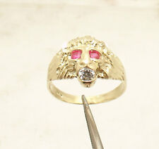Size 7 Men's Lion Head Ring Ruby Eyes Real Solid 10K Yellow Gold 2.9gr