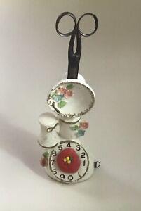 Vintage China  TELEPHONE  SEWING ORGANIZER  -  pin cushion scissors tape measure