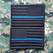 USA AMERICAN FLAG REVERSE MORALE POLICE COVERT THIN BLUE LINE HOOK 2 PATCH SET