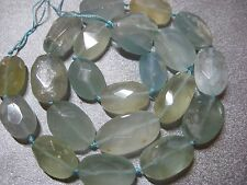 Chinese Aquamarine Faceted Oval Nuggets Beads 22pcs