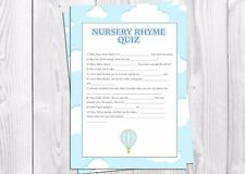 Baby Shower Game, garçon, bébé garçon, Nursery Rhyme Quiz, ballon à air chaud. Bleu.