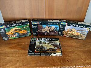 Lot of 4 1/72 Tanks Armor Revell Panther Tiger Sherman Vierlingsflak