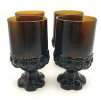 Vintage Tiffin Franciscan Madeira Brown Smoke Glasses Pedestal Footed Goblets 4
