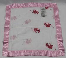 Aden + Anais Elephants Lovey Security Blanket Pink White Muslin Satin Silky Edge
