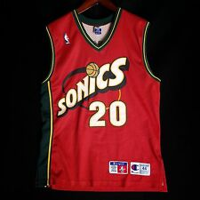 100% Authentic Gary Payton Sonics NBA Red Champion Jersey Size 44 L M