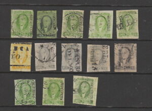 Mexico 1856 issues , 13 stamps