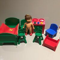 VINTAGE LEGO MARIE DOLL BABY BED SET CHAIR TABLE BUNDLE Duplo Kid Child Drawers