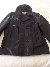 Schott 740N Leather Pea Coat 46 Black
