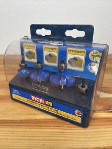 "Ryobi Roundover Router Bit Set 3 Pcs Carbide Edge 1/4"" Shank A25RS31 NEW IN BOX"