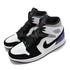 Nike Air Jordan 1 Mid se Varsity Púrpura Blanco Negro Gris Hombres Zapatos 852542-105