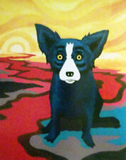 """Blue Dog George Rodrigue      """"Blue Dog on the River""""   Lithograph   MAKE  OFFER"""