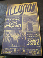 Partition Illusione Luis Mariano Francis Lopez 1958 Music Sheet