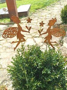Elfe Fee 2 Stück Gartenstecker Stab Edelrost Topfstecker Beetstecker H 70cm
