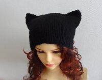 Hand Knitted Beanie Cat Ears Womens Modern Design Hat Australia Made
