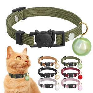 Velvet Quick Release Cat Collar Safety Kitten Collar & Bell Breakaway 6 Colors