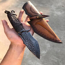 OUTDOOR CAMPING DAMASCUS STEEL TACTICAL KNIFE MULTI FUNCTION SHARP HUNTING TOOL