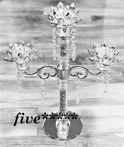 CANDLE HOLDER Crushed 3 Flower Diamond Silver Crystals Filled Romany Candelier