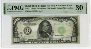 1934 $1000 One Thousand Dollars Federal Reserve Note New York PMG 30 - JM188