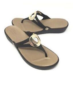 Crocs Sanrah Circle Wedge Thongs - Expresso & Gold - Size 8 W