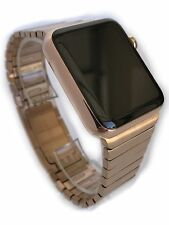 24K Rose Gold Plated 42MM Apple Watch Series 2 Gold Link Band Custom Rare