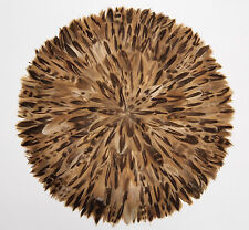16 inch diameter Feather Placemat, Natural brown/beige color, handmade, set of 4