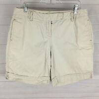 Ann Taylor LOFT womens size 10 solid cream white 100% cotton flat chino shorts