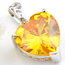 Gorgeous Shiny Natural Shiny Yellow Citrine Gems Silver Heart Necklace Pendants