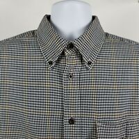 Orvis Mens Blue Brown Windowpane Check Casual Heavy Cotton Button Shirt Large L