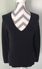 Nwt ANN TAYLOR LOFT Black Cable Knit 100% Cotton V-Neck Pullover Sweater S NEW