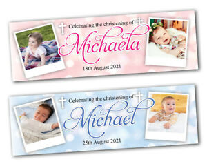 2 Personalised Christening Banner Baptism Naming Day Photo Baby Party Decoration