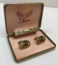 Vintage Gold Colored Bond Street by Anson Cufflinks and Tie Bar Clip Clasp Set