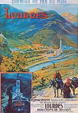 Affiche chemin de fer Midi - Lourdes