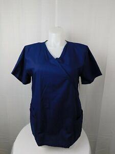 Bobbie Brooks Plus Size Tie-Back Uniform Scrub Top - 1X, Navy Blue #6805