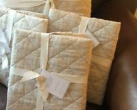 Pottery Barn Set 2 Belgian Linen King Shams Natural Diamond Neutral Quilted New
