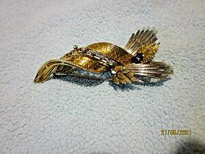 NEU  Brosche 750er Gelb & Weißgold 18 Karat mit Brillianten & Saphire 16,4g  NEU