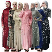 Muslim Women Long Maxi Dress Open Cardigan Embroidery Abaya Dubai Kimono Dresses