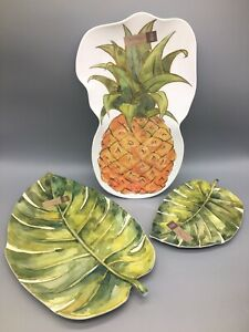 3pc Nicole Miller Melamine Serving Tray Set Pineapple Palms Tropical Gold Hawaii