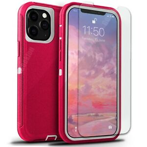 For Apple iPhone 13 12 Mini 11 Pro Max Shockproof Rugged Case + Screen Protector