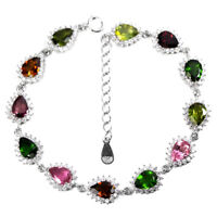 NATURAL MULTI COLOR TOURMALINE & WHITE CZ STERLING 925 SILVER BRACELET 7.5 INCH.