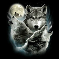 Funny Animal T-Shirt Wolf Moon Wolves Howling Moonlight Wilderness Tee