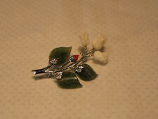 Coral Rose Bud and Jade Brooch Pin Silvertone White Carved Coral Rose and Red