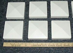 "Lot of Six~5"" x 5"" White Pyramid Fence Post Vinyl Caps~FREE SHIPPING"