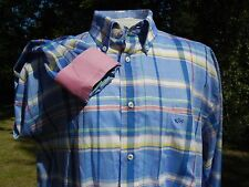 "PAUL & SHARK YACHTING SHIRT 43 PLAID BLUE + 52"" CHEST 16 3/4"" COLLAR ITALIAN"