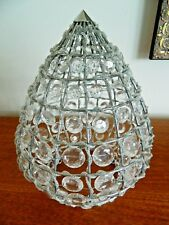 VINTAGE STYLE CHROME AND BEAD CONICAL SHAPE CEILING PENDANT LIGHT SHADE