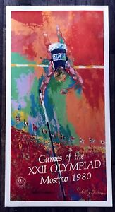 LeRoy Neiman Hand Signed 20x39 Poster 1980 Moscow Russia Olympics Skier COA