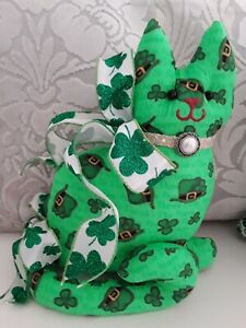 LUCK OF THE IRISH ST. PATRICKS DAY SHAMROCKS  DECORATIVE KITTY CAT SHAPE PILLOW